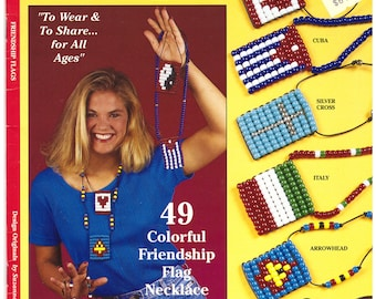 Friendship Flags Pattern Book 49 Friendship Flags. Design Originals 1995 Pony Beads,  Jewelry Suzanne McNeill