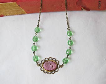 Pink and Green Cameo Necklace - Pastel Jewelry Jewellery For Women - Vintage Peridot Brass Bronze