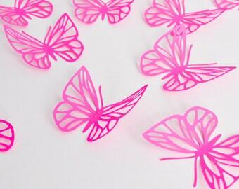 Fuchsia Pink Butterflies Wall Art - Large Paper Butterflies - 3D Paper Butterflies - Butterfly Decoration - Butterfly Birthday Décor