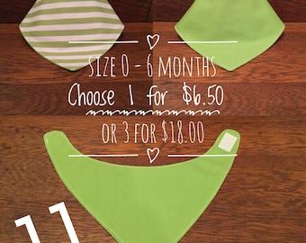 Reversible 0 - 6 month food/drool bibs