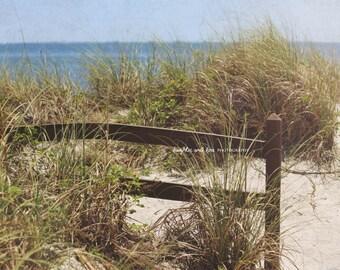 Beach Fence Photo, Landscape Photography, Beach Grass Sand Art, Coastal Tropical Nautical Decor, Seaside Art, Travel Home Decor Wall Art