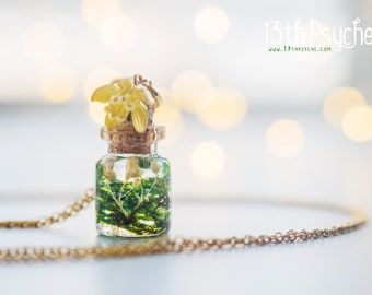 Mother gift women Moss necklace, moss vial necklace, glass Bottle necklace, miniature terrarium jewelry, dainty necklace, botanical jewelry