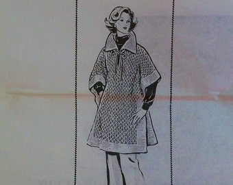 Vintage Knitted Poncho PDF Pattern - Design 7006