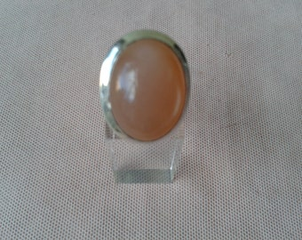 Silver ring, Moonstone, vintage, 1970s