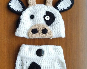 Cow hat and diaper cover