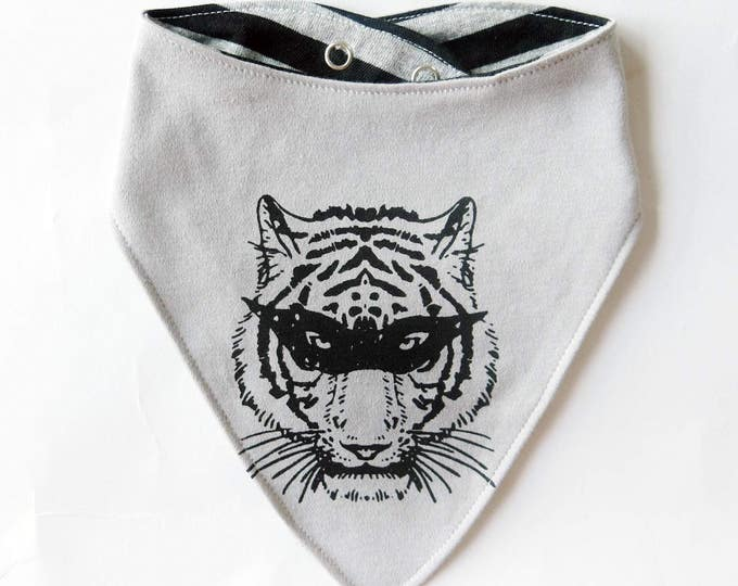 Reversible Masked Tiger Superhero Baby Bib - Unisex Stripes Alternative Anchor Wrestling Tattoo Boys Dribble Cloth