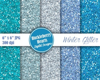 Digital Glitter Paper, Blue Glitter Paper, Glitter Paper, Glitter Texture, Printable, Commercial Use