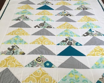 """Modern Quilt - Hand Quilted - Flying Geese - Teal, Aqua, Yellow and Gray - 52"""" x 74"""""""