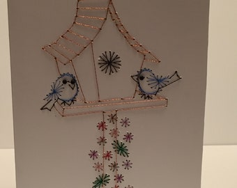 Stitched Birdhouse Card