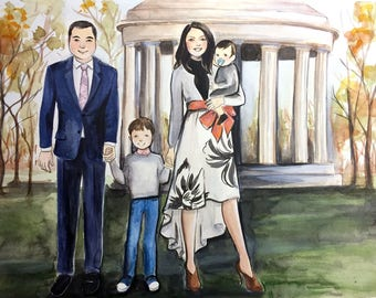 """11""""x14"""" Custom Watercolor Portrait Illustration - With Background"""