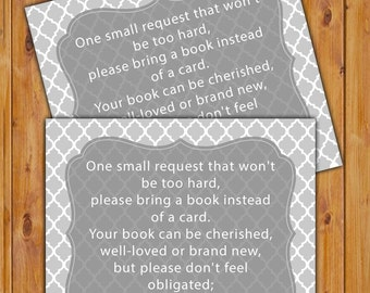 In Lieu of card, Book Baby Shower Invitation Inserts Instead of a card Grey quatrefoil pattern Printable PDF--Instant Download