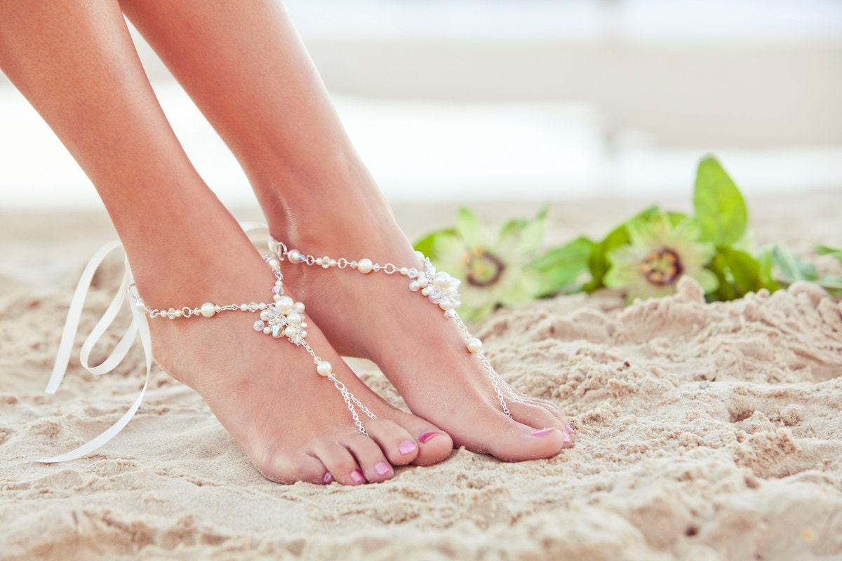 Barefoot sandles beach wedding shoes beaded wedding sandals zoom junglespirit Choice Image