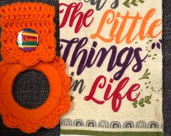 Kitchen towel with crochet towel hanger, oven towel hanger, towel holder, gift ,game or door prize, party favor,