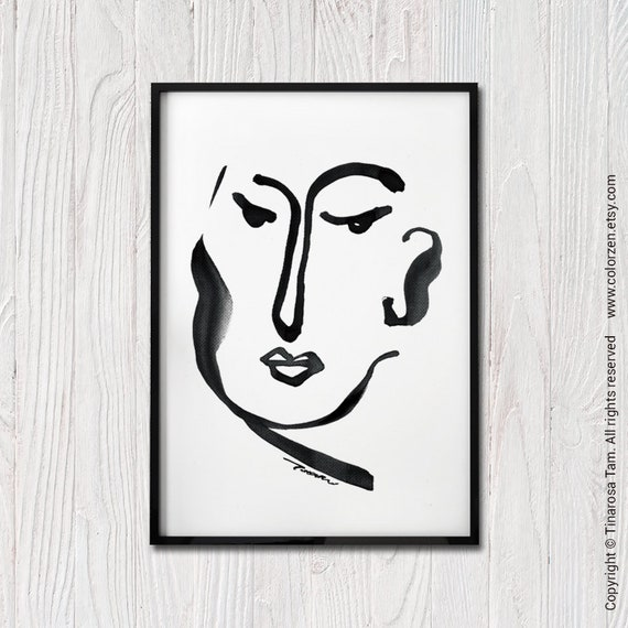 Portrait woman face quirky art print black and white art