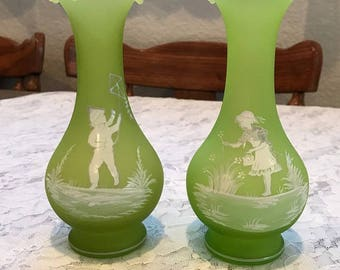 Two Fenton  Vases Mary Gregory style