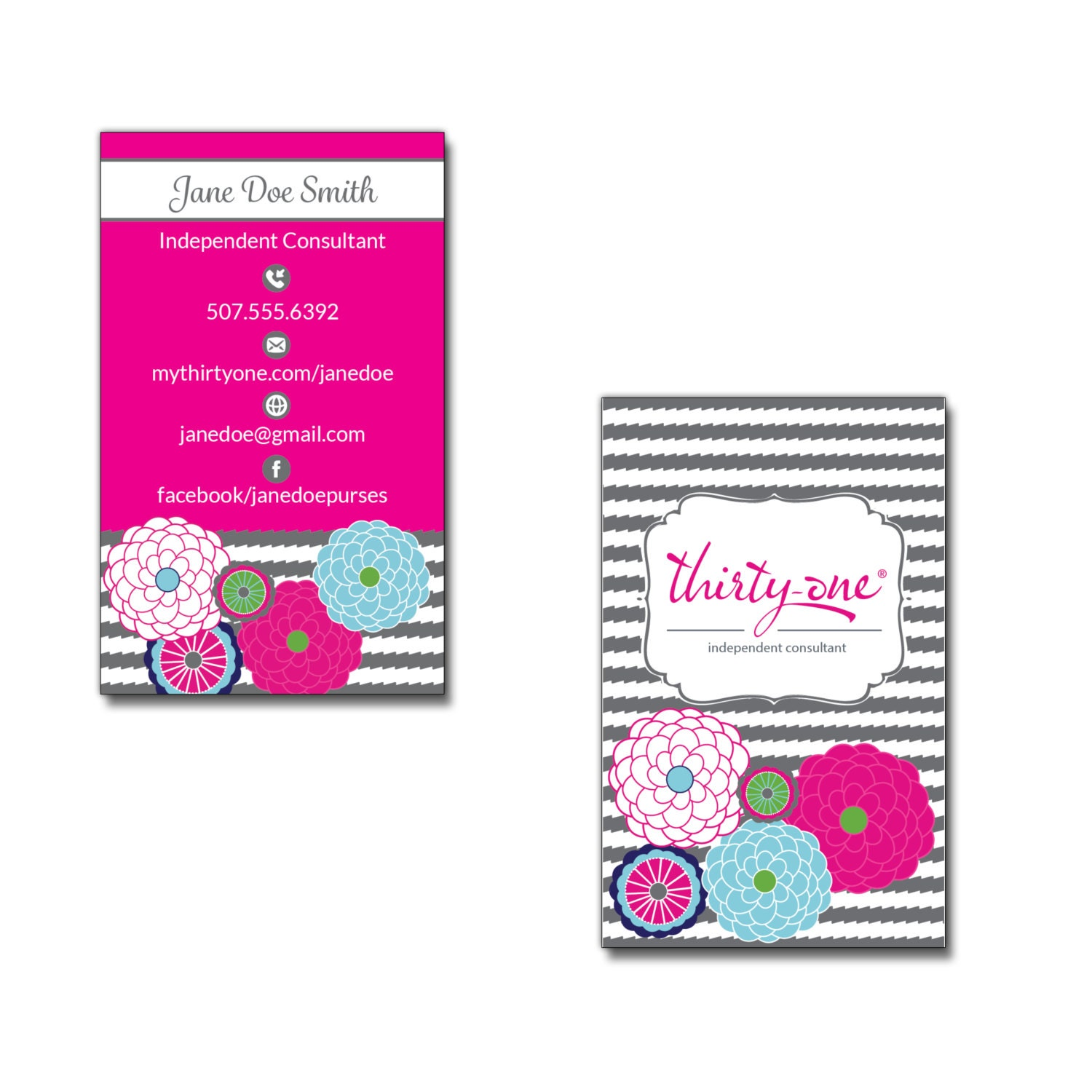 Thirty-One Business Card Bubble Bloom and Grey Wave Inspired