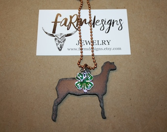 4H sheep necklace ~ 4H show sheep necklace ~ 4H show mom necklace ~ stock show necklace ~ show sheep