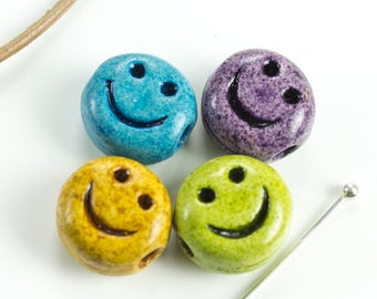 25%OFF Set of 4 Ceramic Smiley Face Beads Happy Carved Smile Emoticon Symbol Bead 12mm Spring Diy Supplies, Handmade in USA - 4pcs