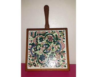 Vintage Wood and Tile Hot Plate,Wooden Trivet,Vintage Hot Plate,Celtic,Pennsylvania Dutch,Tile Trivet,Wooden Trivet,Floral Trivet,Farmhouse