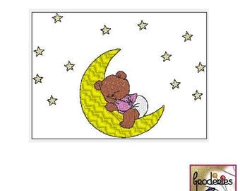 Embroidery file format: baby bedtime Goodnight Teddy