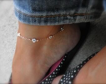 Station anklet - Multi  CZ  rose gold charms anklet - rose gold cz - cz rose gold vermeil framed charm  - rose gold ankle bracelet -