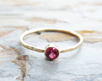 3mm Tiny, Solid 14k Gold Lab Grown Ruby Ring, Yellow or White Gold, Hammered or Smooth Band - July Birthstone Mother's Stacking Ring