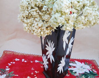 Flower Vase Black with White Flowers, Pottery Hand Made Vase, Home Decoration Ceramic Vase, Flower Vessel for Fresh or Dried Flowers