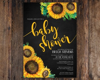 Fall Sunflower and Chalkboard 5x7 Baby Shower Invitation Print at Home DIY Version