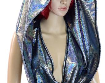 HUGE Sparkling Silver Metallic Holographic Cowl Hoodie Festival Rave Clubwear Hood Reversible Hood   -150273