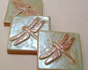Set of three, 3 inch  Dragonfly tile for fireplace, kitchen and bath green & copper glaze. CraftsmanBungalow style