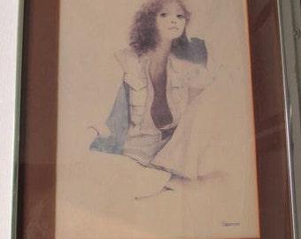 "Vintage 1976 Rosamond ""Simone"" Summer Mood Lithographic Poster Art Print"