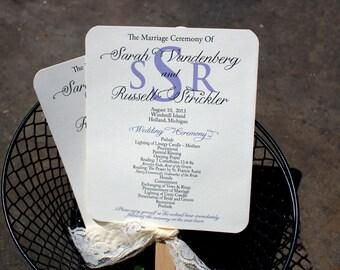 Lace Wedding Program Fan / Lavender Programs / Vintage Program Fans/ Garden Wedding Fan /  Lavender Fan SAMPLE