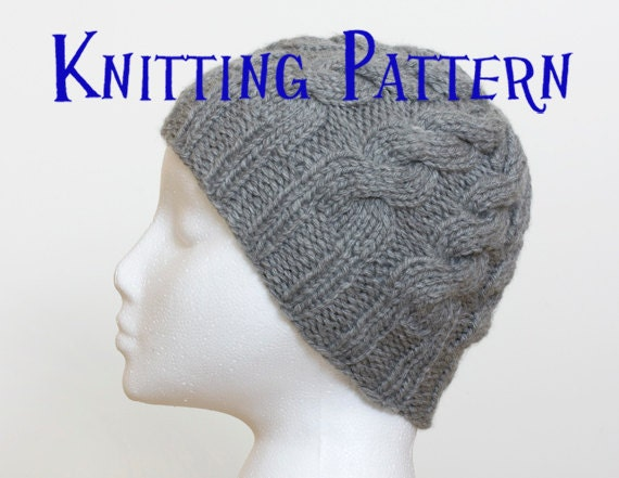 Instant Download PDF Knitting Pattern - Cabled Beanie, Hat Knitting ...