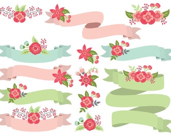 Floral Ribbons Clipart - Digital Vector Flowers, Wedding, Ribbons, Banners Clip Art