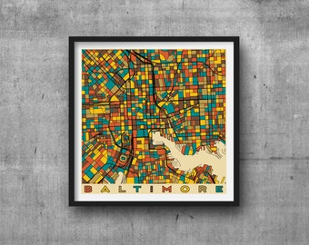 BALTIMORE City Map Maryland Giclee Fine Art Print Abstract Modern Wall Art Home Gift Orioles Ravens Camden Yards Charm