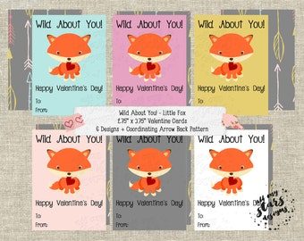 Wild About You! Little Fox - Set of 6 Kid's Classroom Valentine Cards | Instant Download | Coordinating Backing Pattern Included