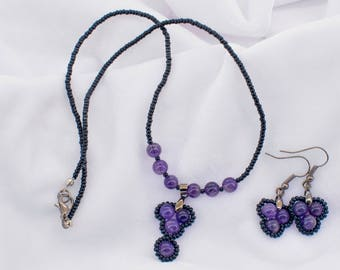 Natural Amethyst stone beaded necklace with earrings