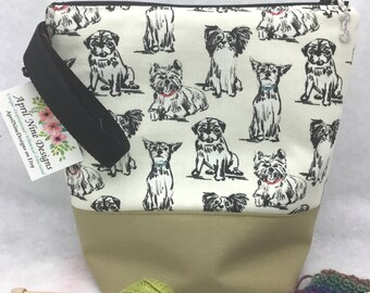 Medium Puppies Knitting Bag, Puppies Crochet Bag, Knitting Project Bag