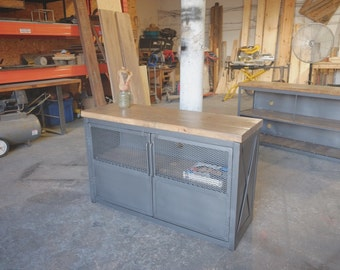 Industrial Upright Steel and Wood Media Credenza Consoles Bar/Record stand