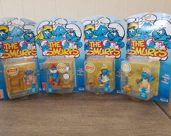 Vintage Smurfs Action Figurines, Rare Smurfs Collectibles, Smurf Village Set Papa Hefty Baby Smurfette Smurf, moveable arm action toy loy