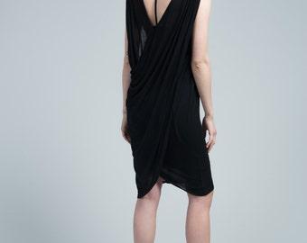 Summer Dress / Cocktail Dress / Sleeveless Dress / Designer Dress / Open Back Dress / Boatneck Dress / Marcellamoda - MD0665