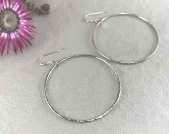 Sterling Silver Hammered Hoop Earrings
