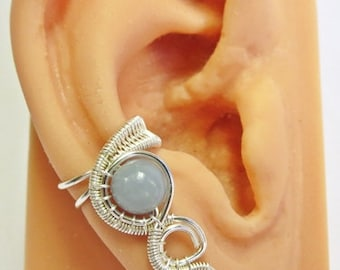Angelite & Silver Woven Gemstone Ear Cuff