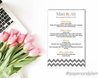 Chevron Wedding Reception Dinner Menu   Gray & Orange Wedding Menu   Wedding Signage   Reception Table Menu - Printable File