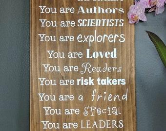 In this classroom, custom sign, wood sign, wooden sign, teacher sign, classroom decor, teacher gift, school, inspiration,  teacher, custom