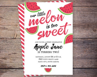 Watermelon Birthday Invitation Pink - Printable Watermelo Party Invite - Too Sweet Party - Watermelon Themed Party - Print at home