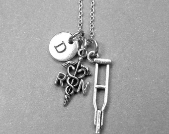 RN necklace, nurse necklace, crutches necklace, nurse jewelry, RN charm, nurse graduate, RN jewelry, personalized necklace, initial necklace