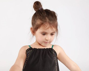 SUPER SALE: Kids tencel top shirt 'Stitches' Black. Hand-embroidered