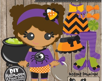 HALLOWEEN PAPER DOLLS - Instant Download pdf - diy Craft Project, Party Decoration, Clipart, Holiday Activities, Scrapbooking and Papercraft