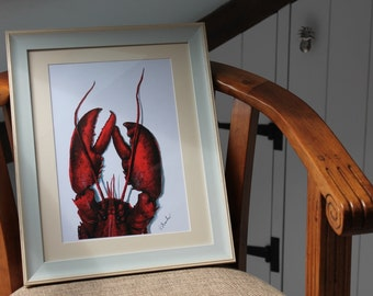 Acrylic & Ink LOBSTER Print A4 By VMS (From Original Artwork)